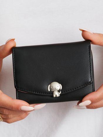 Czarny podłużny portfel z ekoskóry