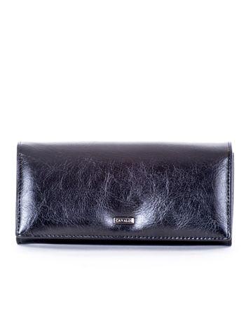 Czarny portfel damski z ekoskóry