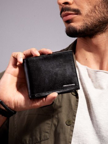 Czarny portfel dla mężczyzny poziomy