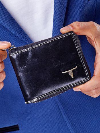 Czarny portfel męski na suwak