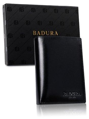 Czarny portfel męski z naturalnej skóry BADURA