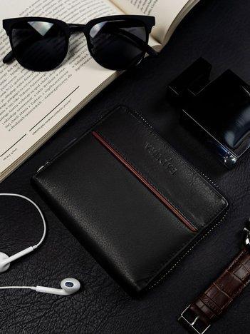Czarny portfel skórzany BADURA