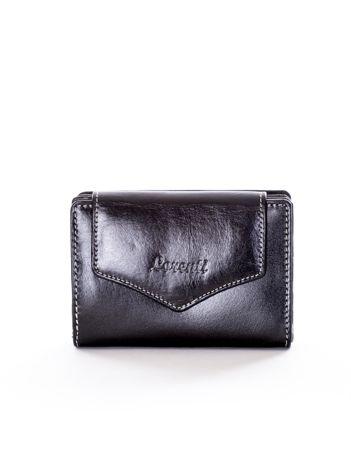 Czarny portfel skórzany z klapką