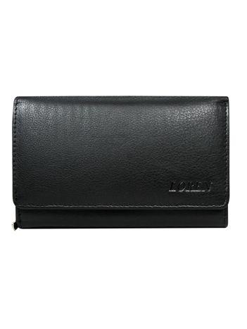 Czarny portfel skórzany z zapięciem