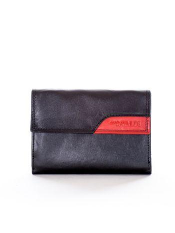 Czarny portfel z klapką