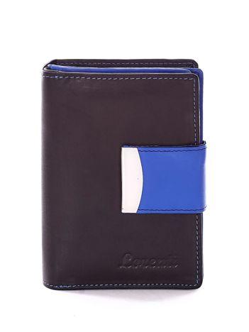 Czarny portfel z niebieskim wykończeniem