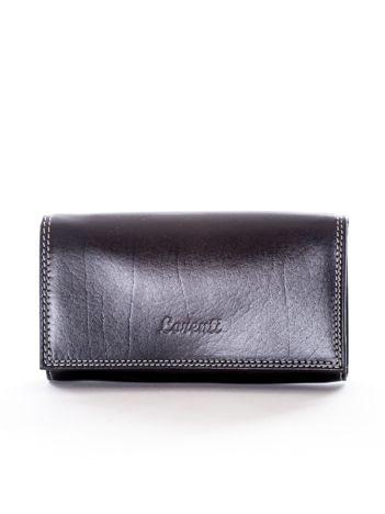 Czarny portfel ze skóry naturalnej