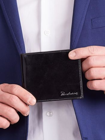 Czarny poziomy męski portfel