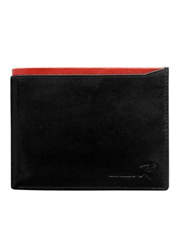 Czarny poziomy otwarty portfel męski z czerwoną wstawką