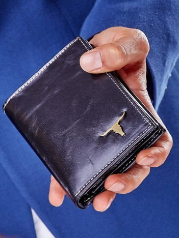 Czarny prostokątny portfel męski