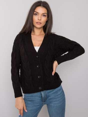 Czarny rozpinany sweter w warkocze Danville RUE PARIS