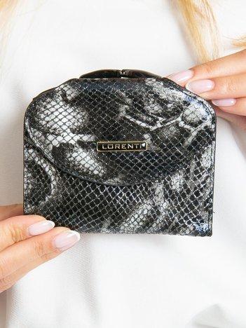 Czarny skórzany portfel damski z klapką