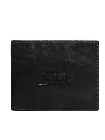 Czarny skórzany portfel męski bez zapięcia