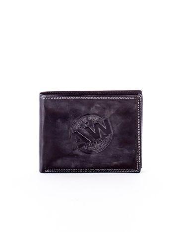 Czarny skórzany portfel z okrągłym tłoczeniem