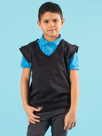 Czarny sweter chłopięcy bez rękawów