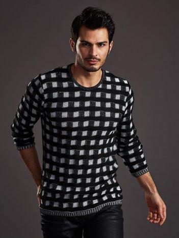 Czarny sweter męski w pleciony wzór