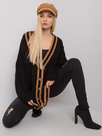 Czarny sweter rozpinany w warkocze Farmington