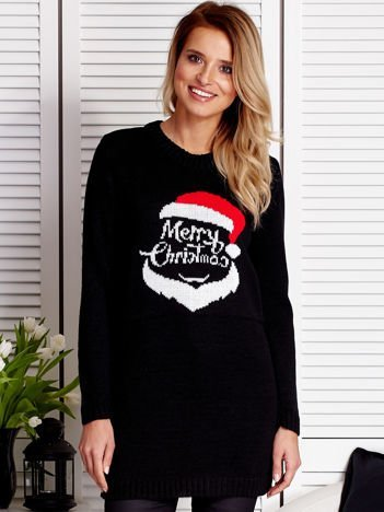 Czarny sweter świąteczny z Mikołajem