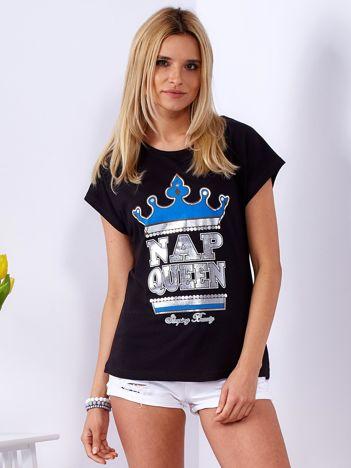 Czarny t-shirt NAP QUEEN