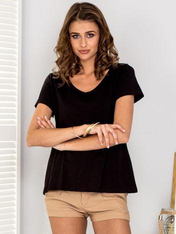 Czarny t-shirt V-neck
