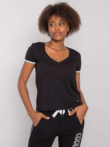 Czarny t-shirt V-neck Kiarra NIE ZNASZ MNIE