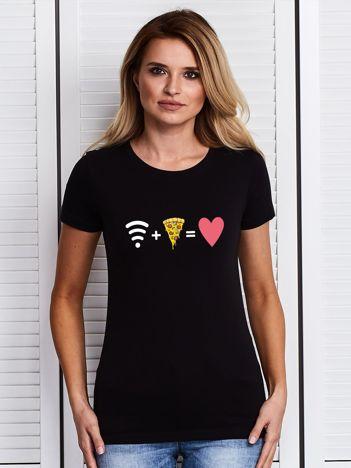 Czarny t-shirt damski WIFI + PIZZA