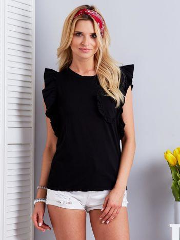 Czarny t-shirt damski z falbankami i kieszonką