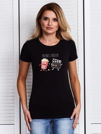 Czarny t-shirt damski z kinowym nadrukiem popcornu