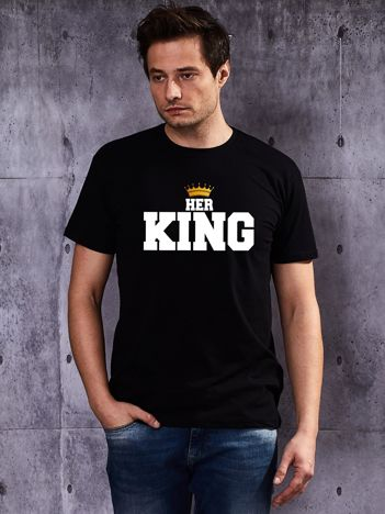 Czarny t-shirt męski HER KING z nadrukiem dla par