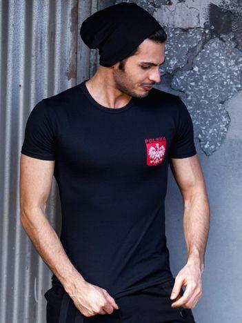 Czarny t-shirt męski z godłem