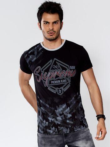 Czarny t-shirt męski z graficznym napisem