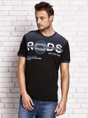 Czarny t-shirt męski z napisami