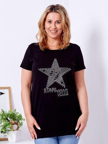 Czarny t-shirt z błyszczącą gwiazdą PLUS SIZE