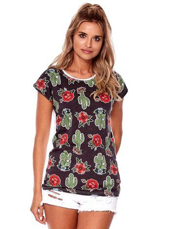 Czarny t-shirt z motywem kwiatowym i kaktusami