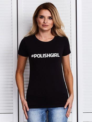 Czarny t-shirt z nadrukiem #POLISHGIRL