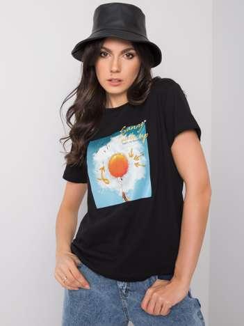Czarny t-shirt z nadrukiem Trissa