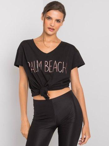 Czarny t-shirt z napisem Denma