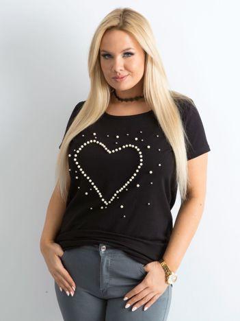 Czarny t-shirt z perełkami PLUS SIZE