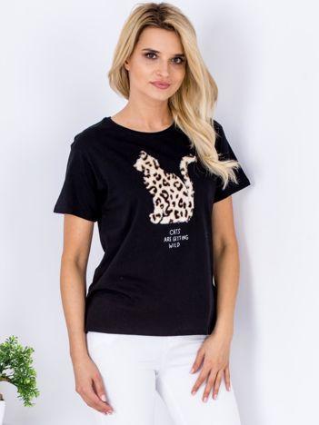 Czarny t-shirt z pluszowym kotem