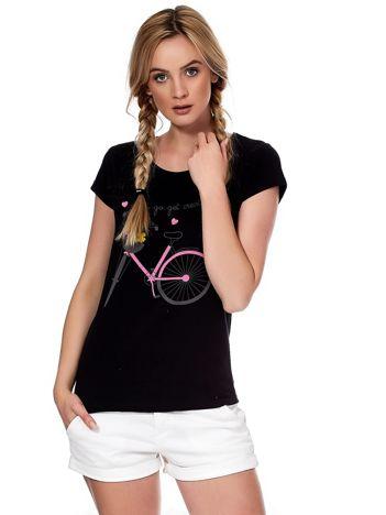 Czarny t-shirt z rowerem