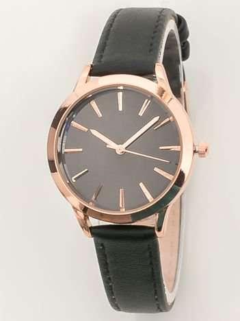 Czarny zegarek damski z lustrzaną tarczą