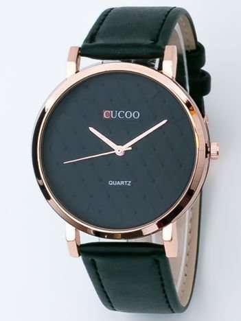 Czarny zegarek damski z pikowaniami na tarczy