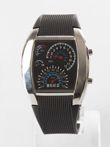 Czarny zegarek męski sportowy z datownikiem