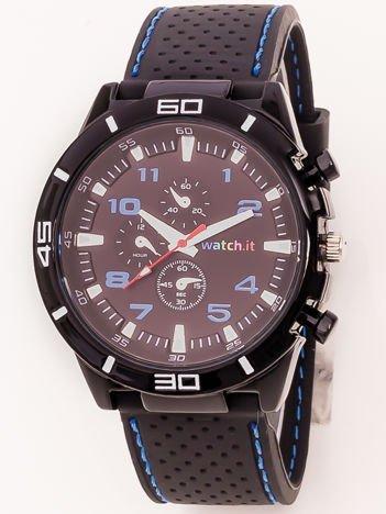 Czarny zegarek męski z niebieskimi wstawkami