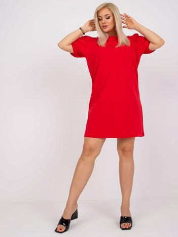 Czerwona bawełniana sukienka plus size Jasmine
