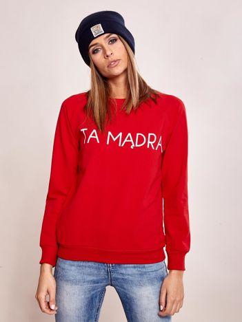 Czerwona bluza bez kaptura z napisem