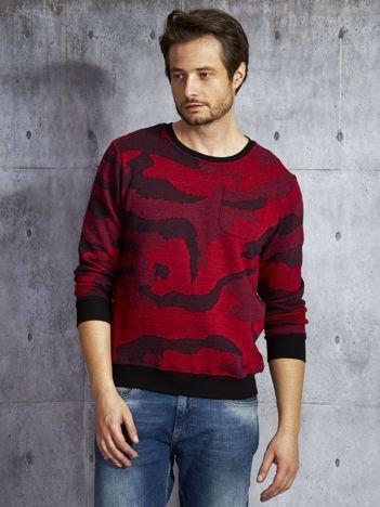 Czerwona bluza męska moro z kieszonką