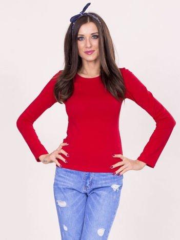 Czerwona bluzka basic z długim rękawem