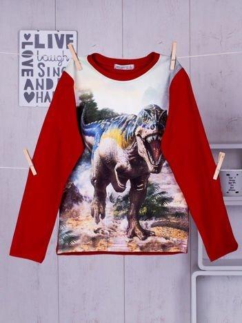 Czerwona bluzka dziecięca z nadrukiem Tyranozaura