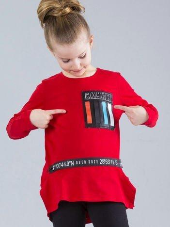Czerwona bluzka dziewczęca z aplikacjami